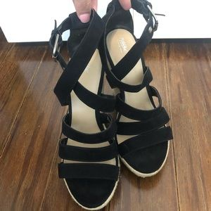 Black lace up wedges